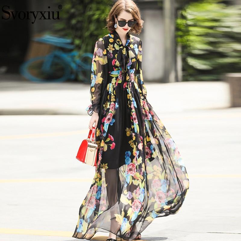 Svoryxiu Runway Elegant Summer Maxi Long Dress Women s Long Sleeve Floral Print Chiffon Custom Big