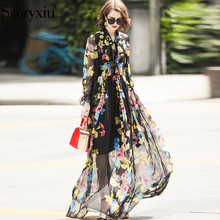 Svoryxiu Runway Elegant Summer Maxi Long Dress Womens Sleeve Floral Print Chiffon Custom Big Size Bohemian