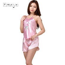 ERAEYE Women Silk Imitation Satin Embroidery Pajamas Sexy Lingerie Set Embroidered Pyjamas Sets  Sleepwear Classic Nightwear