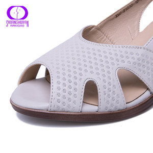 Image 5 - AIMEIGAO New Summer Peep Toe Sandals Comfortable Thick High Heel Sandals Soft Leather Shoes for Women Big Size Summer Shoes