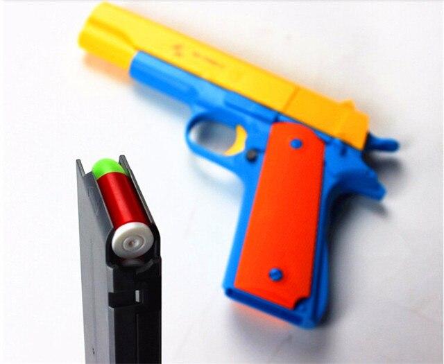 1 pcs clássico m1911 brinquedos pistola de brinquedo das crianças armas bala macio arma de plástico revólver crianças diversão ao ar livre jogo atirador brinquedo