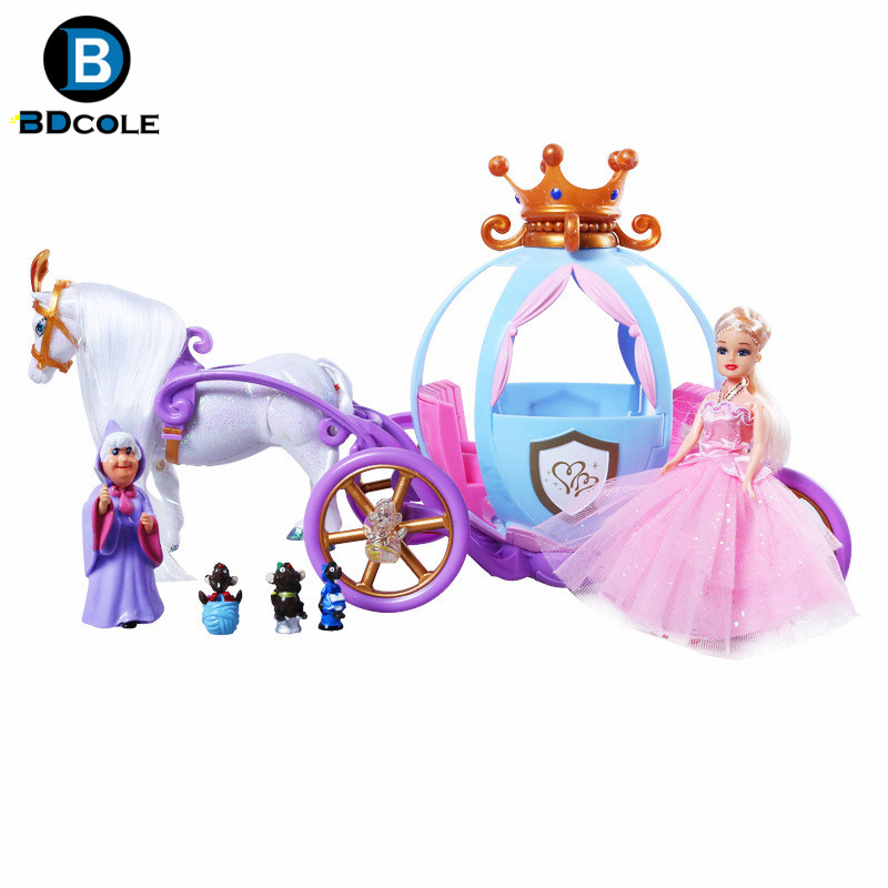 BDCOLE-Qs Battery Powered Double-Horse Crown Pumpkin Carriage for Barbie Doll Lady Youngsters's Day Reward Christmas Toy