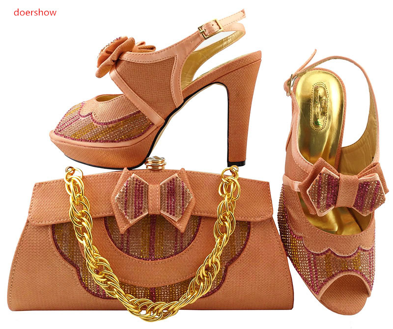 doershow Shoes and Bag To Match Italian peach Color Women Shoe and Bag To Match for Parties African Shoe and Bag Set LULU1-14 le suit women s water lilies woven pant suit with scarf