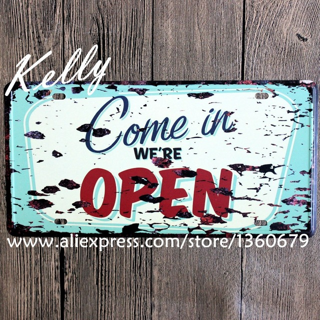 kelly66 come in we re open vintage license plate wall signs poster