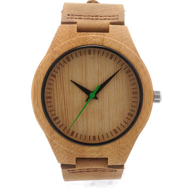 BOBO BIRD hombres Fresco Del Diseñador Verde Horas Manos Relojes De Madera De Bambú Real Pulseras Cuero Relojes para Hombres