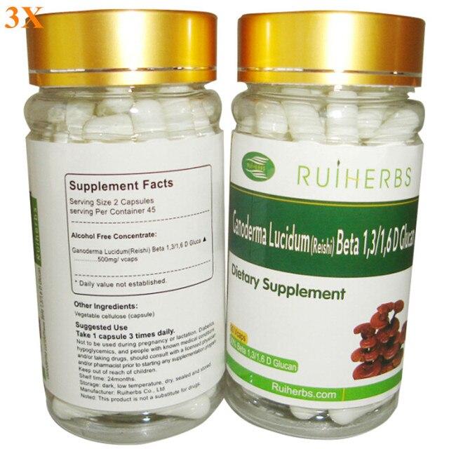 3 Бутылки Ganoderma Lucidum Рейши Экстракт 30% Бета-Глюкан Капсулы 500 мг х 270 шт. бесплатная доставка