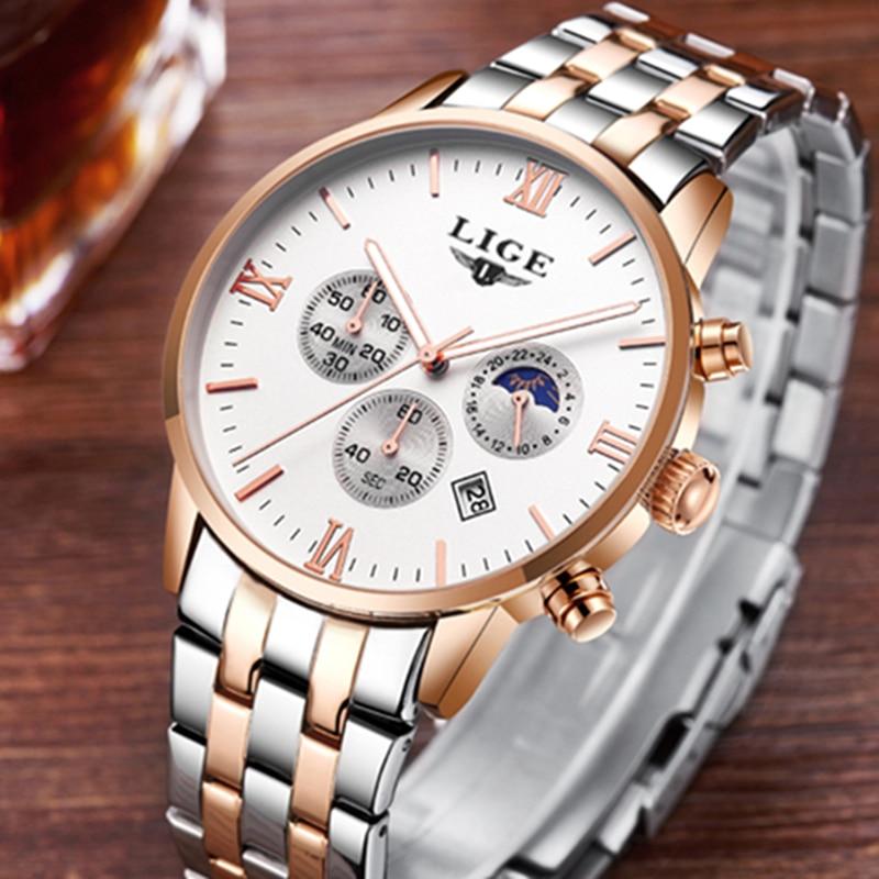 LIGE Reloj Hombre Men Watches Brand Luxury Men Military Sport Wristwatch Quartz Watch Multi-function Clock Man relogio masculino