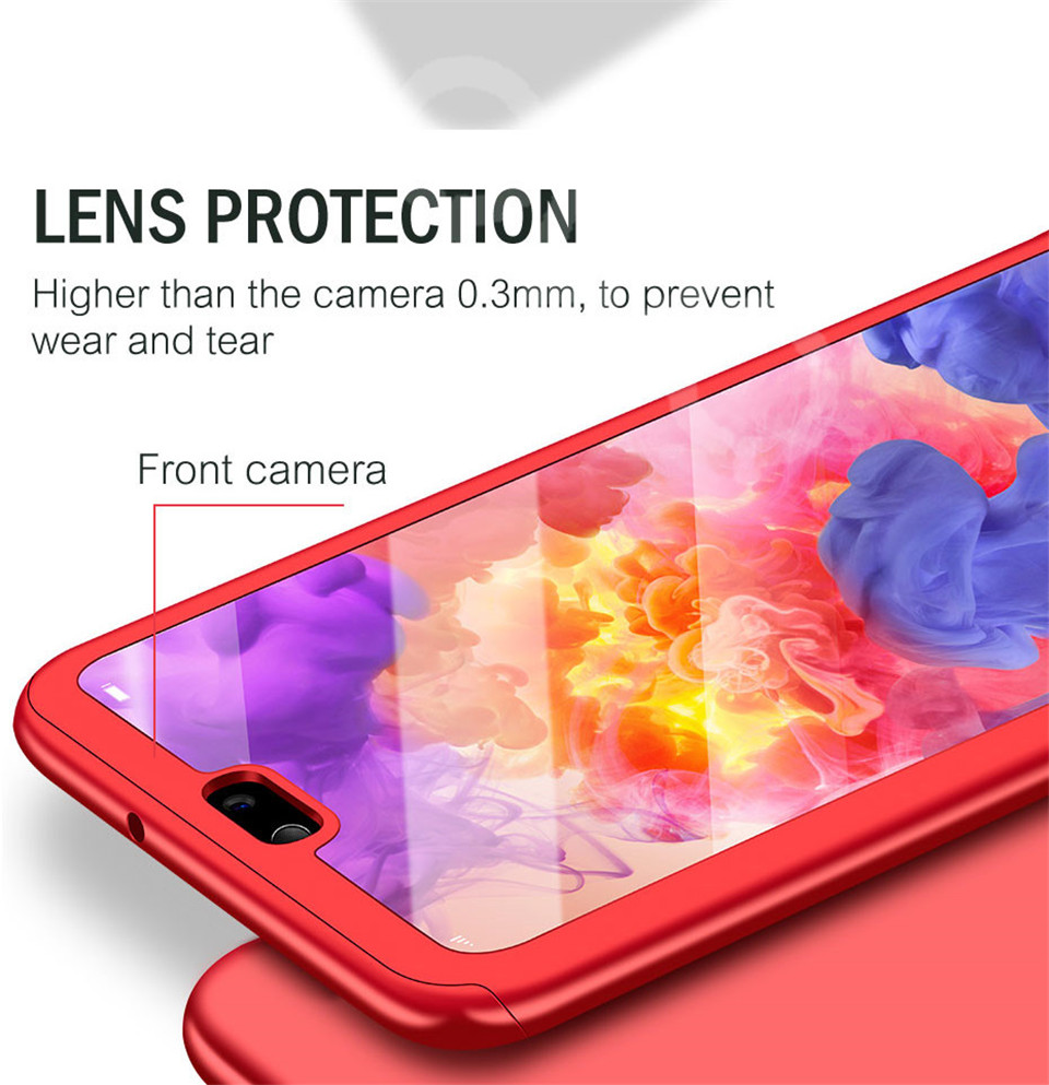 360 Degree Full Protective Phone Case For Huawei P20  P20 Lite P20 Pro Cover Case For Huawei P20 Lite P10 P10 Lite P10 Plus Mate 10 Lite Mate 10 Pro Matte Shell Tempered Glass 11