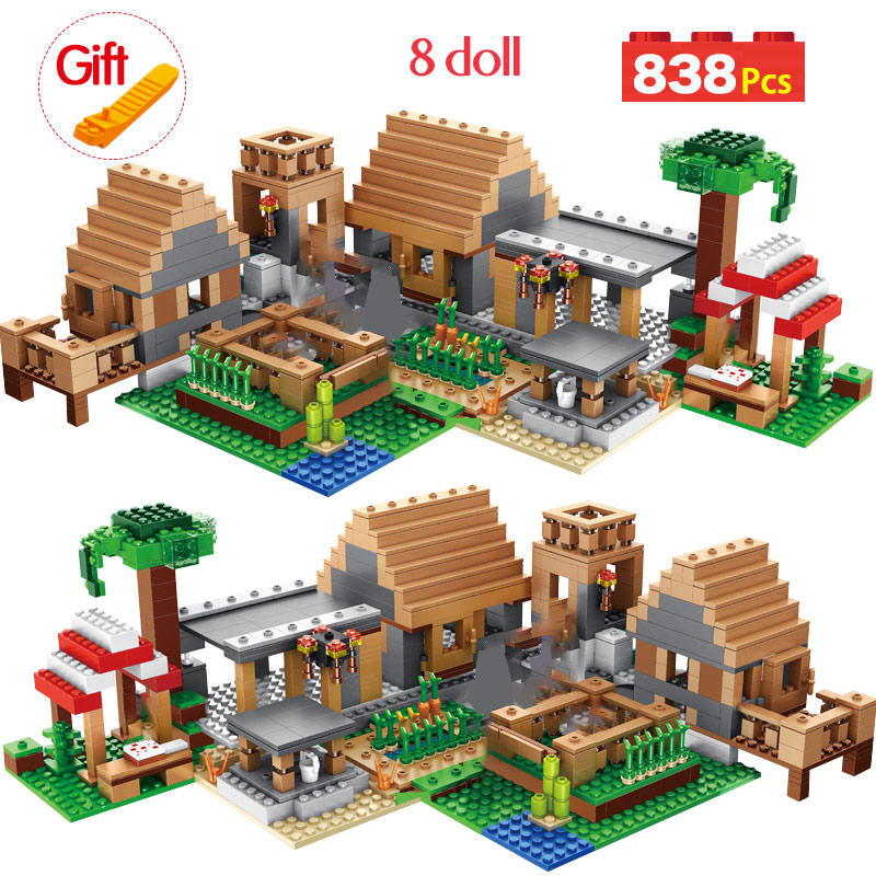 My World The Farm Cottage Building Blocks Technic Compatible Legoingly Minecrafted Village House Figures Brick Toys For Children