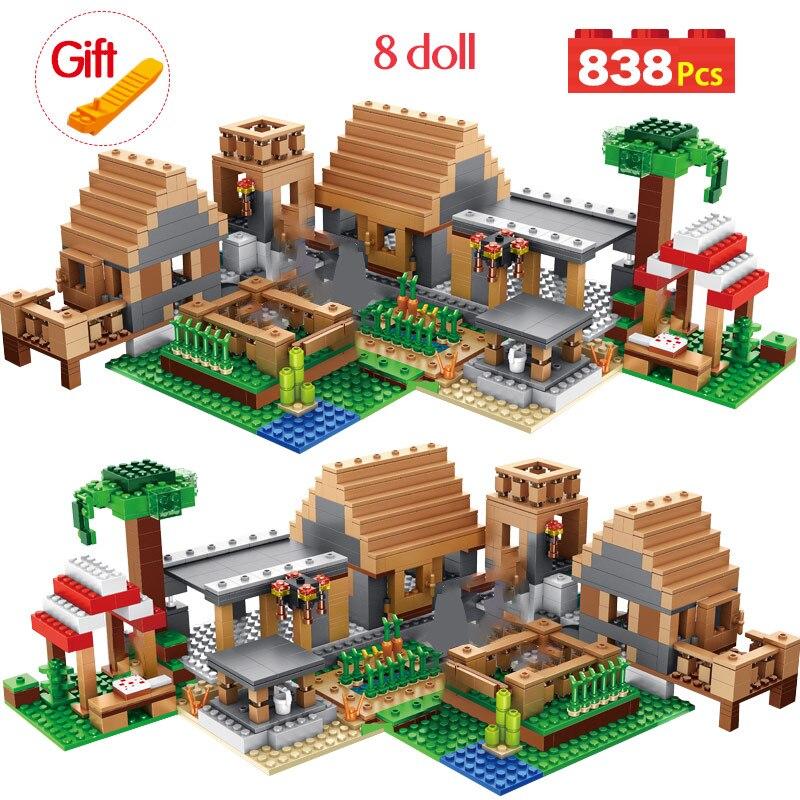 My World The Farm Cottage Building Blocks Technic Compatible Legoingly Village House Figures Brick Toys For Children