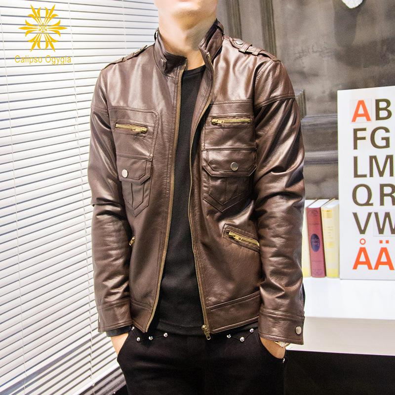 Men's Genuine Lambskin Leather Jacket Slim fit Biker Black Coffee Brown Motorcycle PU Leather Jacket Casaca De Cuero Hombre