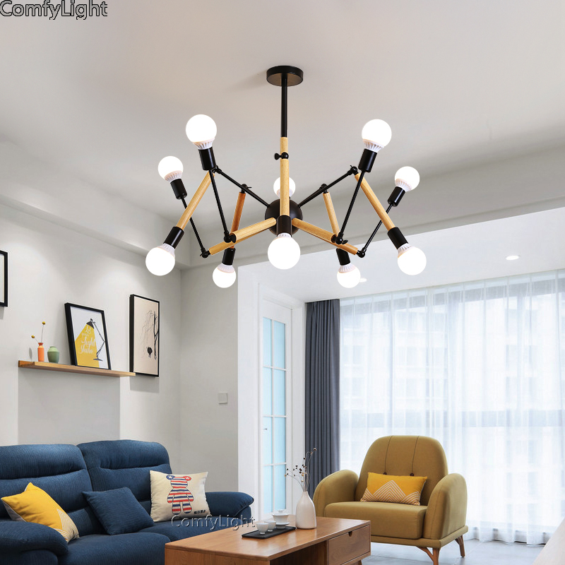Iron Multiple Ajustable DIY Ceiling Spider Lamp Chandeliers Lighting Modern Chic Industrial Dining Individual style saloon modern fashion large spider braided chandeliers white black fabric shades diy 10 heads clusters of hanging ceiling lamp lighting