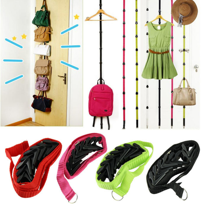 2017 Straps Hanger Adjustable Over Door Hanger Hat Bag Clothes Rack Holder Organizer 8 Hooks