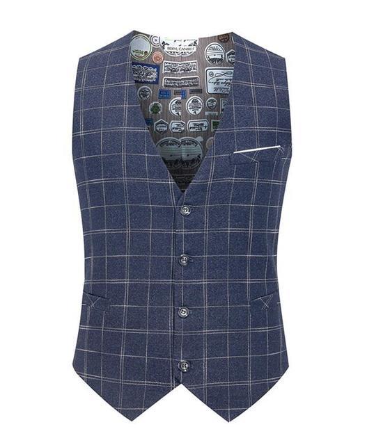 2015 New Men's Suit Vest Casual grid Vest Slim Fit Luxury business Dress Waistcoat Vest for man