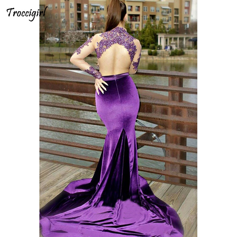Two Piece Purple Mermaid Prom Dresses Long Sleeve Lace Applique Beading Sweep Strain See Through Formal Evening Dress Party Go in Evening Dresses from Weddings Events