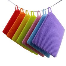 Scouring Pad 1Pcs Silicone Dish Washing magic sponge Scrubber Kitchen Cleaning antibacterial Tool u71010 scouring pad