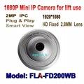 2MP 1080 P mini Câmera IP P2P Plug And Play CCTV Câmera Grande Angular de 2.8mm para Câmera de Segurança UFO, Onvif P2P câmera De Metal do elevador
