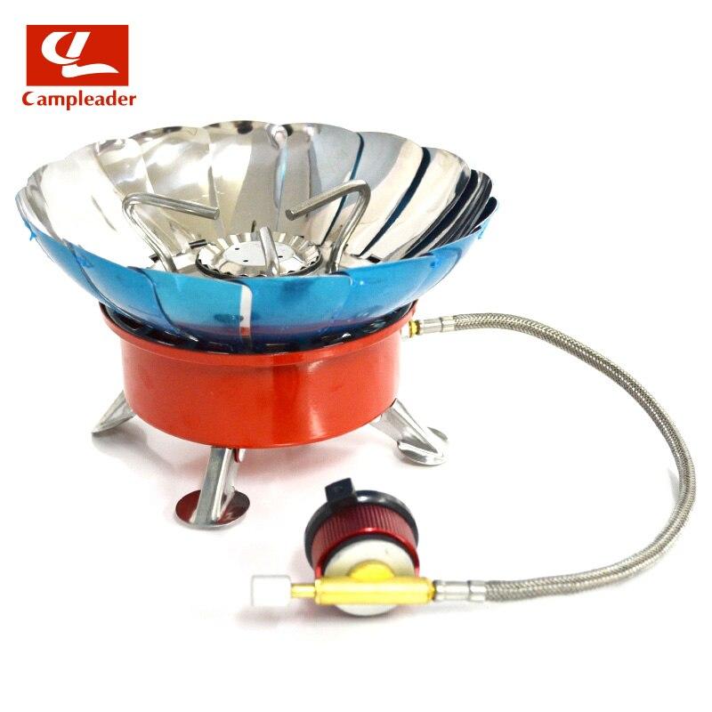 A prueba de viento estufa cocina utensilios de cocina quemadores Gas para Camping Picnic al aire libre barbacoa con ampliado tubo 4 Tipo de CL045