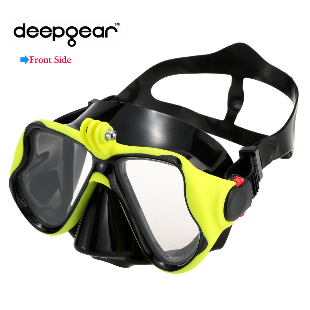 Black Silicone Snorkel Mask Tempered Glass Mask For Adult