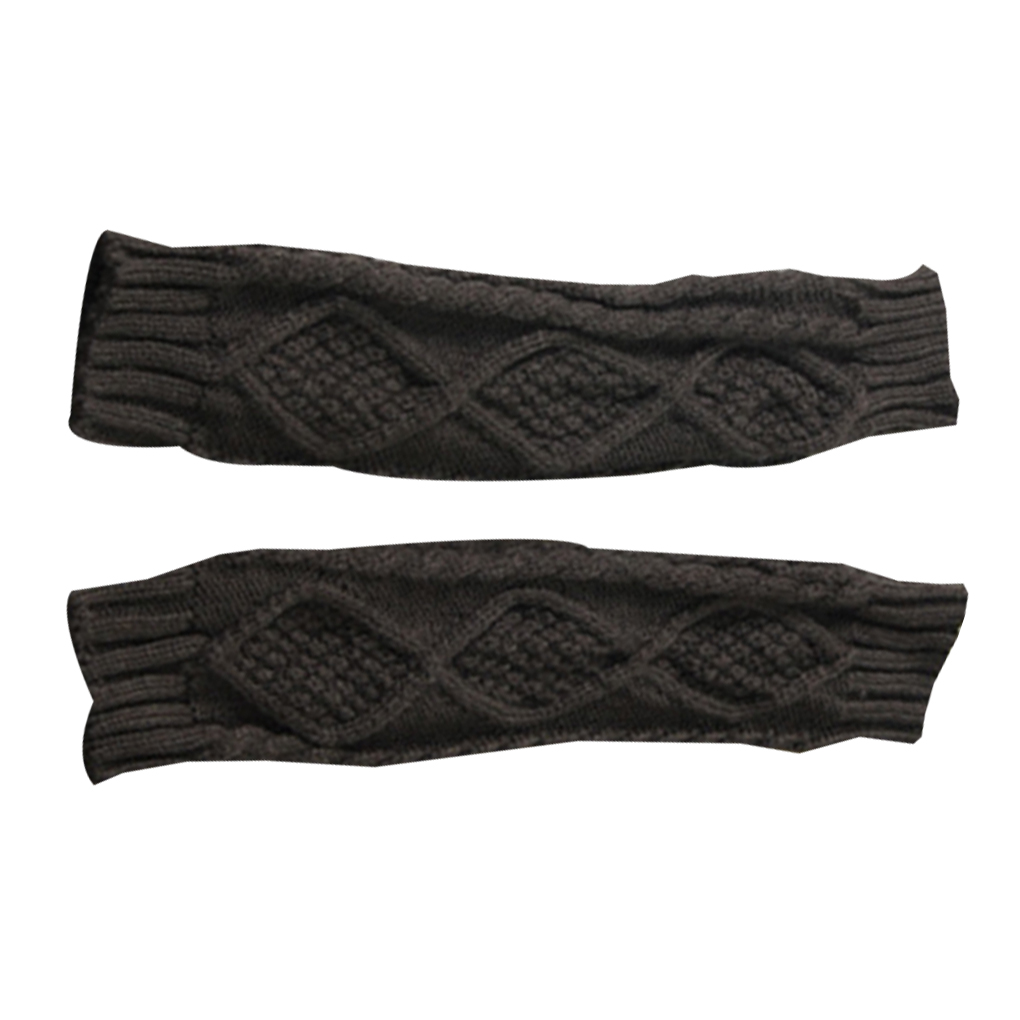 NEW 1 Pair Autumn Winter Women Knit Gloves Arm Wrist Sleeve Warmer Girls Rhombus Long Half Winter Mittens