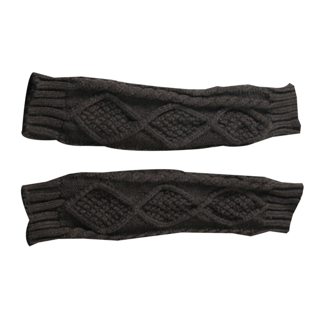 NEW 1 Pair Autumn Winter Women Knit Gloves Arm Wrist Sleeve Warmer Girls Rhombus Long Half Winter Mittens