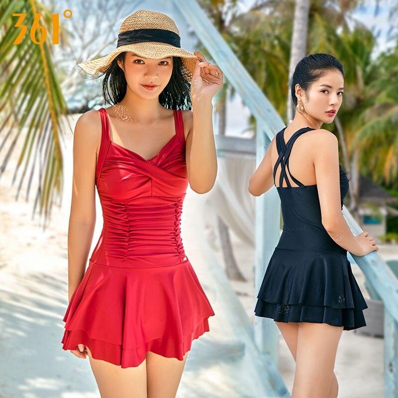 361 di Un Pezzo del Costume Da Bagno Delle Donne Più Il Formato Conservatore Tummy Controllo del Vestito di Nuoto Del Costume Da Bagno Femminile con Delle Signore del Pannello Esterno Costumi Da Bagno