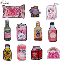 Pulaqi Drink Milk Snack Iron On Patches For Kids T-shirt Clothes Applique Creative Food DIY Patch Badge Decoration Accessories F