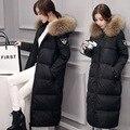 Europa nova gola de pele de grandes dimensões mulheres quentes Meninas jaqueta longa magro era modelos femininos finos parkas grosso na altura do joelho quente MZ1045