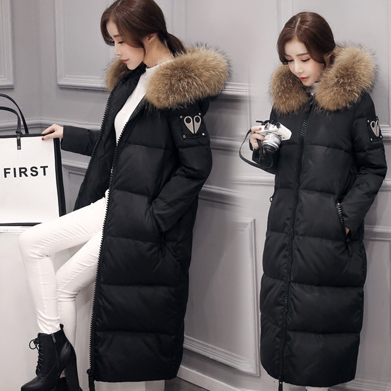 ФОТО Europe new oversized fur collar women warm jacket Girls long Slim was thin female models thick knee length warm parkas MZ1045