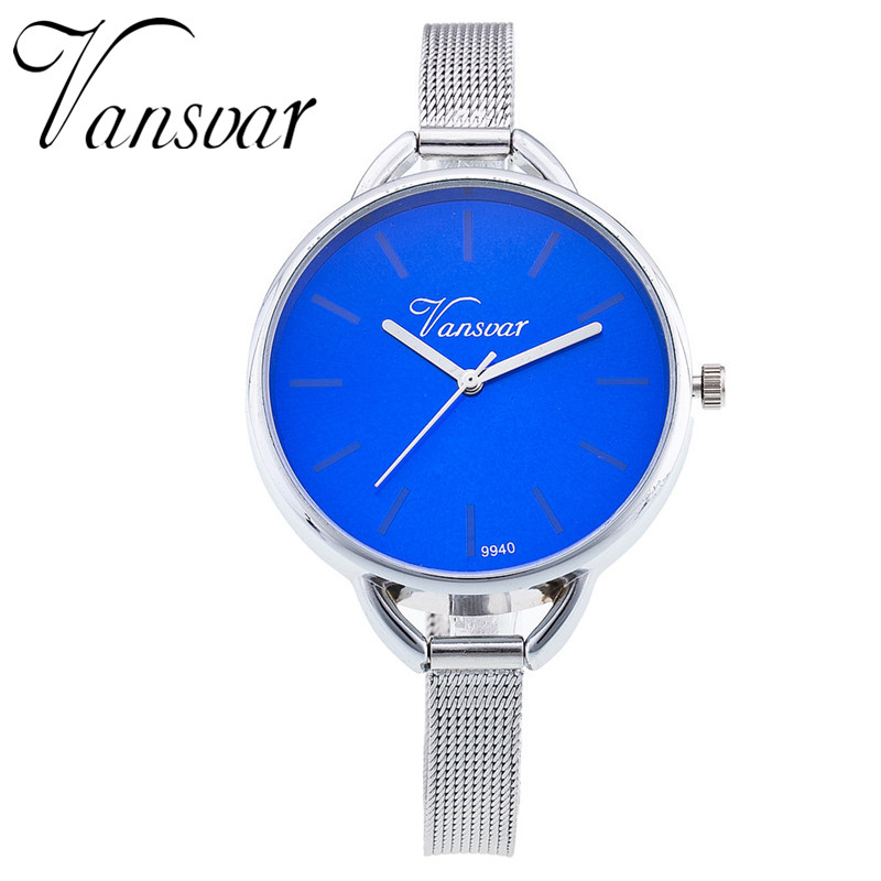 Vansvar Fashion Silver Watches Casual Women Dress Watches Quartz Watch Stainless Steel Watches Relogio Feminino Gift Clock 746 vansvar brand fashion casual relogio feminino vintage leather women quartz wrist watch gift clock drop shipping 1903