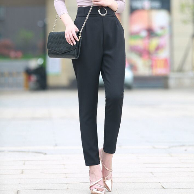 fac55cda5045 2018 Summer New Thin Black Pants Fashion Women Chic Loose High Waist  Professional Feet Pants Office Lady OL Ankle Length Pants