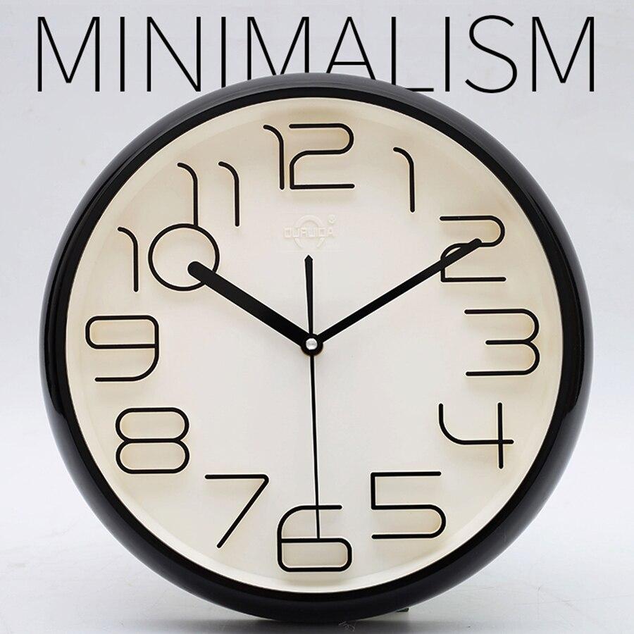 Moda simple reloj de pared de diseño moderno 3D cuarzo Silent ...