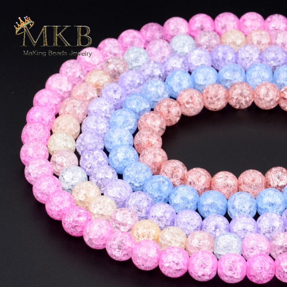 Natural Stone Beads Multicolor Cracked Quartz Round Beads For Jewerly Making 6 8 10 12mm Crystal Beads Diy Bracelet Wholesale(China)