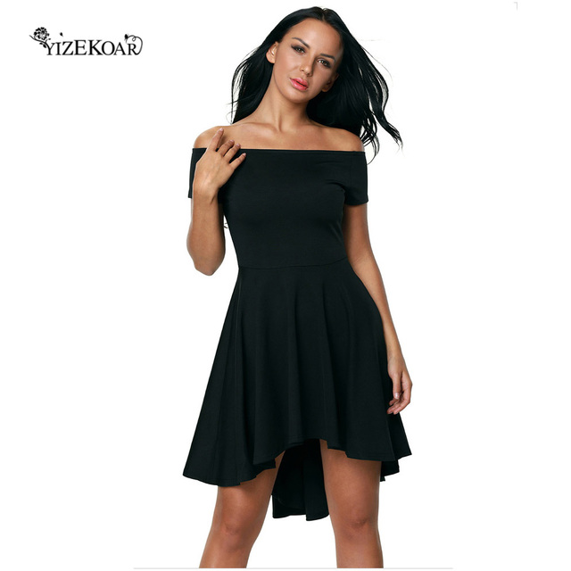 5d0a1098dff0f 2018 Autumn Fashion Women Plus Size Evening Party High Low Dresses Off  Shoulder Short Sleeve All The Rage Skater Dress LC61346