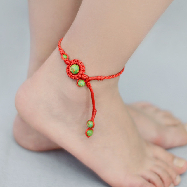 wanelo shop beaded ankle peach string products with on beads bracelet anklet sale bracelets for best blue