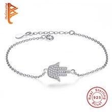 Precioso Enlace Cadena Pulseras de La Amistad 925 Joyas de Plata de la CZ Crystal Palm Hamsa Encantos Pulsera Para Las Mujeres YS1006