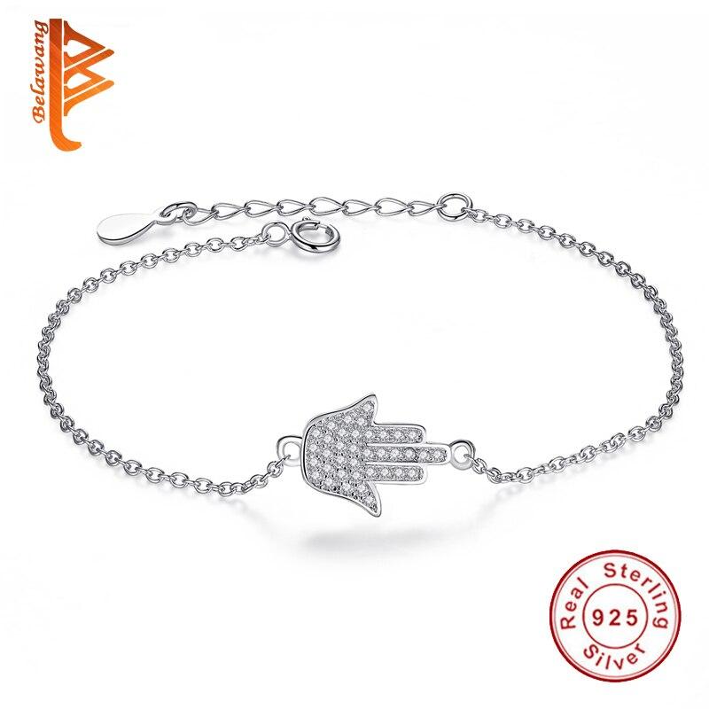 Trendy Real 925 სტერლინგი ვერცხლისფერი ფატიმა მეგობრობის სამაჯური Palm Hamsa Crystal Link ჯაჭვის სამაჯური ქალის სამკაულების საჩუქარი
