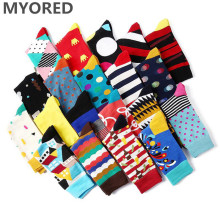 MYORED 5 pair/lot men socks cotton casual dress mens funny novelty man gift street wear