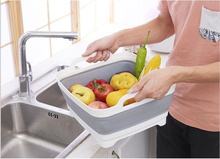 Square Fruit Vegetable Washing Washbasin Kitchen Product Supply Folding Sink Drain basket Travel Outdoor Camp Portable