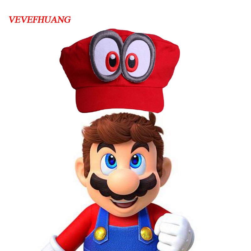 VEVEFHUANG Game Super Mario Odyssey Hat Adult Kids Anime Cosplay Cap Handmade Super Mario Odyssey Metals badge