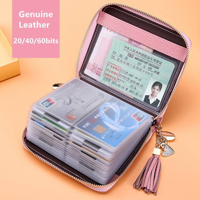outlet store e4166 d34d4 US $12.5 38% OFF 20/40/60bits Genuine Real CowLeather Candy Color Ladies  Card Holder With Tassel Heart Pedant Business Credit Card Holder Wallets-in  ...