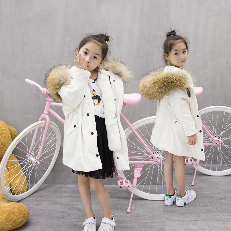 Kids Winter Jacket Children's Natural Rabbit Fur Baby Outerwear Long Parkas Raccoon Fur Hooded Coat Girls Warm Jacket TZ214 5 colors 2017 new long fur coat parka winter jacket women corduroy big real raccoon fur collar warm natural fox fur liner