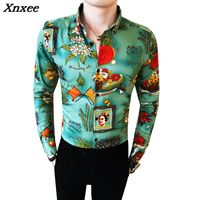 2018 Mens Flowers Shirts Fancy Camisa Hombre Floral Blouse Green Mens Printed Shirts Casual Slim Fit Club Outfits Party Dresses