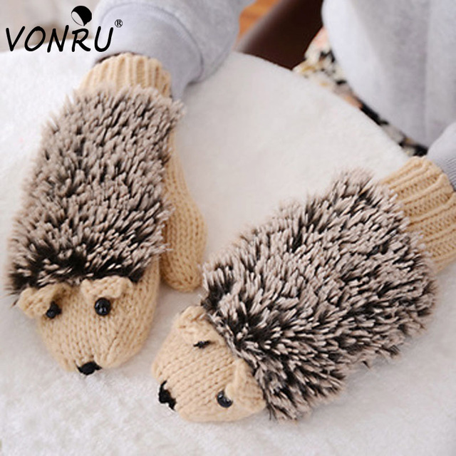 Novelty Winter Gloves for Women Knit Warm Fitness Gloves Hedgehog Heated Villus Mittens Cartoon Mitaine 1ST6101
