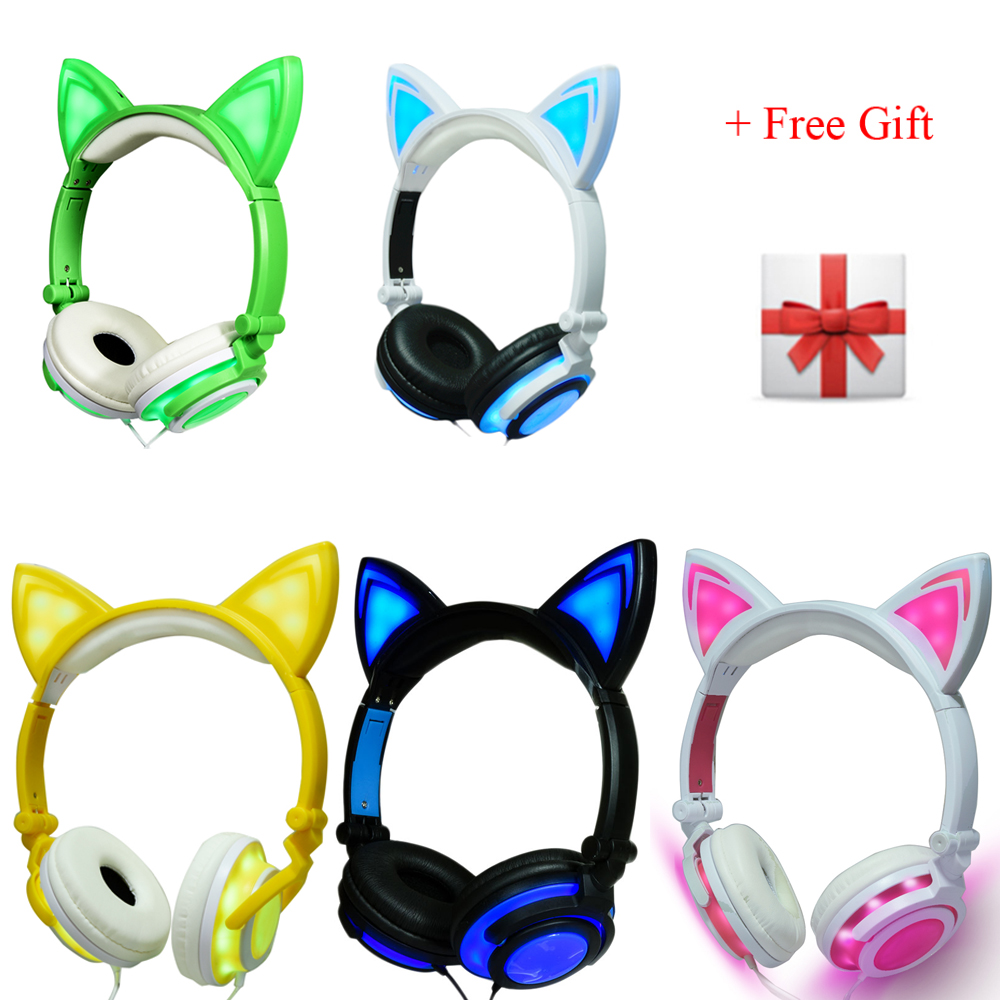 3.5mm Glowing Light Cat Ear Headphones Wired Stereo Cat Earphones Led Gaming Headset for iphone 6 6s mp3 mp4 For PS4 Laptop cute cartoon cat claw style in ear earphones for mp3 mp4 more blue white 3 5mm plug