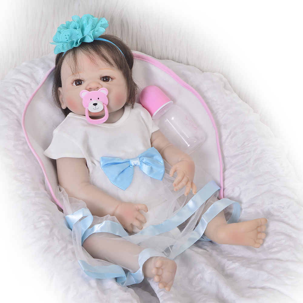 23 Inch Lifelike Reborn Girl Baby Doll Full Vinyl Body Handmade Silicone 57cm Realistic Fiber Hair Reborn Dolls Kids Xmas Gifts new arrival 23 57cm baby girl doll full silicone body lifelike bebe reborn bonecas handmade baby toy for kids christmas gifts