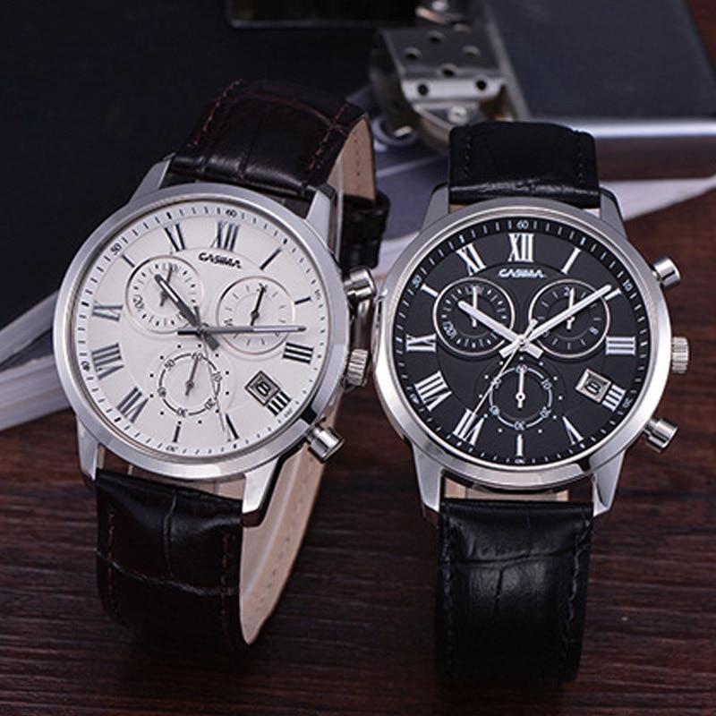 Новый Мужская мода Кварцевые часы Водонепроницаемый Кожаный ремешок наручные часы с календарем ЛЛ@17