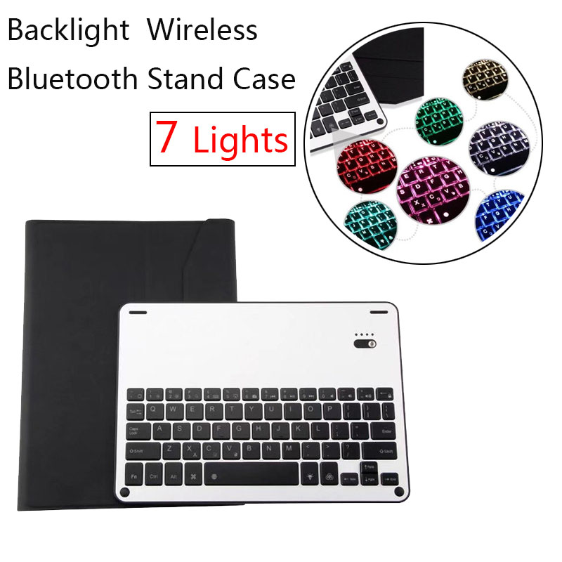Aluminum Keyboard Cover Case with Backlight Backlit Wireless Bluetooth Keyboard & Power Bank For ipad Air 2/6 Pro 9.7 IPad 2017 ultrathin wireless keyboard for ipad air bluetooth keyboard with 7 colors backlight backlit magnetic rotating slot smart cover