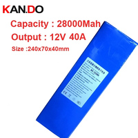 capacity 28A discharge 40A current,w/ 2A charger 12V battery pack,polymer lithium battery pack 12v li Ion battery pack battery