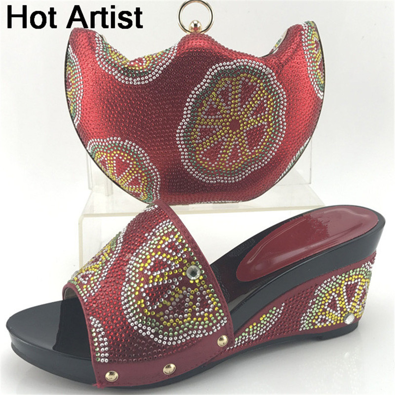 Hot Artist African Style Slipper Shoes And Matching Bag Set Fashion Rhinestone Ladies Pumps Shoes And Bag Set For Party ME7708 solid color pocket hemming lapel long sleeve slimming trendy polyester blazer for men